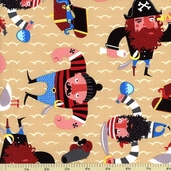 Monkey's Bizness Captain Redbeard Cotton Fabric - Ochre
