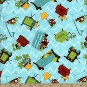 Monster Mash Hide And Seek Cotton Fabric - Blue
