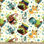 Monster Mash Party Monster Cotton Fabric - Cream