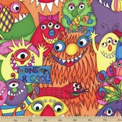 Monsters Cotton Fabric - Multi