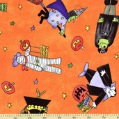 Monsters Masquerade Cotton Fabric - Orange 1454-29171-891
