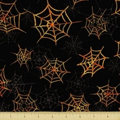 Monsters Masquerade Cotton Fabric - Webs - Black