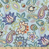 Mood Swings Jacobean Cotton Fabric - Blue