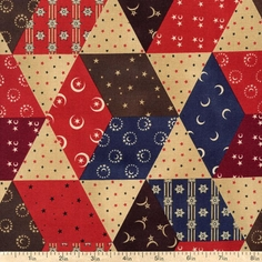 Moon and Stars Patchwork Cotton Fabric - Red