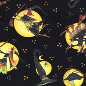 Moon Dancers Witches Cotton Fabric - Black