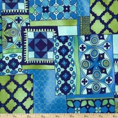 Moonlit Garden Modern Collage Cotton Fabric - Blue