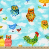 Moos and Hoos Sky Cotton Fabric - Blue