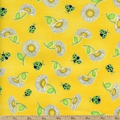 Morning Mist Daisy Toss Cotton Fabric - Yellow