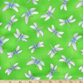 Morning Mist Dragonflies Cotton Fabric - Green