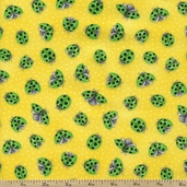 Morning Mist Ladybugs Cotton Fabric - Yellow