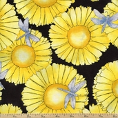 Morning Mist Large Floral Cotton Fabric - Yellow