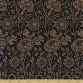 Morris and Company Cotton Fabric - Black Floral