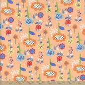 Mother Goose Tales Funky Flowers Cotton Fabric - Orange