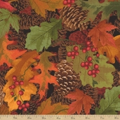 Mountain Getaway Autumn Leaves Cotton Fabric - Cabin