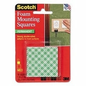 Mounting Squares Foam Adhesive - Permanent -1in - Pkg of 16