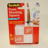 Mounting Squares Foam Adhesive - Removable -1in - Pkg of 16