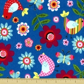Mumbo Jumbo Bird Flannel Fabric - Blue