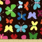 Mumbo Jumbo Butterfly Flannel Fabric - Brown