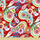 Mumbo Jumbo Paisley Flannel Fabric - Red