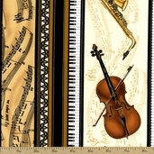 Music Cotton Fabric - Cream GM-CM6818