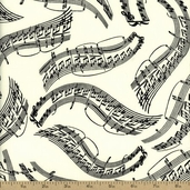 Music Cotton Fabric - Cream MUSIC-C8657