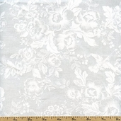 Muslin Mates Floral Cotton Fabric - White 9934-11