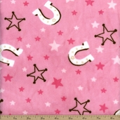 My Buckaroo Cuddle Minky Horse Shoes Cotton Fabric - Hot Pink