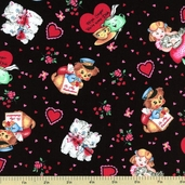 My Funny Valentine Cotton Fabric - Black 3928-60607-8