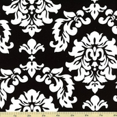 Mystique Damask Cotton Fabric Black C3081