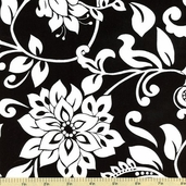 Mystique Main Floral Cotton Fabric Black C3080