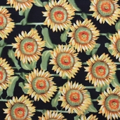 Nature Inspired Cotton Fabric - Black