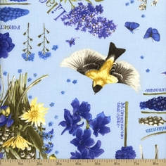 Nature's Palette Gathered Cotton Fabric - Blue