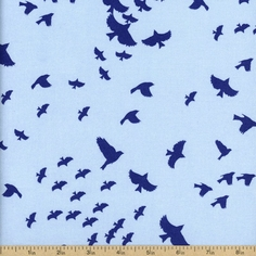 Nature's Palette Silhouette Cotton Fabric - Blue