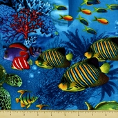Nautical and Sea Life Reef Cotton Fabric - Turquoise C7565