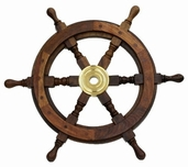 Nautical Captains's Ship Wheel - Walnut/ Brass
