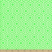 Neon And On Hexagon Cotton Fabric - Green