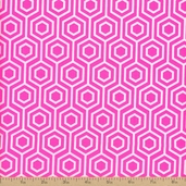 Neon And On Hexagon Cotton Fabric - Pink