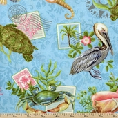 Neptune's Garden Large Allover Cotton Fabric - Blue