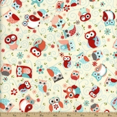 Nested Owl Owls All Around Cotton Fabric - Coral