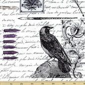 Nevermore Edgar Cotton Fabric - White DC5525-D