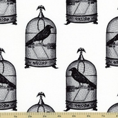 Nevermore Jackclaws Cotton Fabric - White DC5523-D