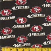 NFL Broadcloth San Francisco 49ers Polyester Fabric - Black