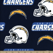 NFL Broadcloth Cotton Fabric - 58 inch - San Diego Chargers - Navy