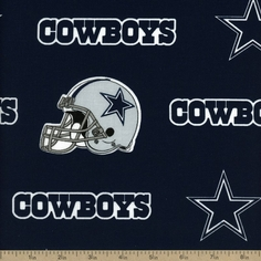 NFL Broadcloth Cotton Fabric - 58 inch - Dallas Cowboys - Navy