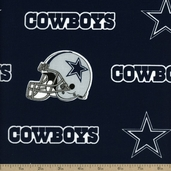 NFL Broadcloth Dallas Cowboys Cotton Fabric - Navy