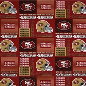 NFL Broadcloth San Francisco 49ers Cotton Fabric - Red