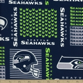 NFL Broadcloth Seattle Seahawks Cotton Fabric - Navy