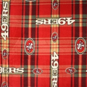 NFL Fleece 49ers Plaid Polyester Fabric - Red 6393-D