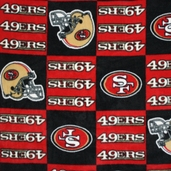 NFL Fleece Fabric - 49ers Checker - Red and Black