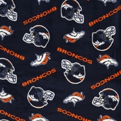 NFL Fleece Fabric - Broncos - Navy